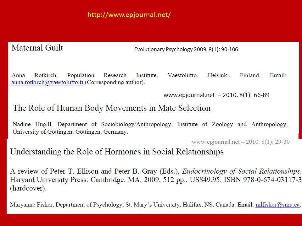http://www.epjournal.net/ Evolutionary Psychology 2009. 8(1): 90-106 www.epjournal.net – 2010. 8(1): 66-89