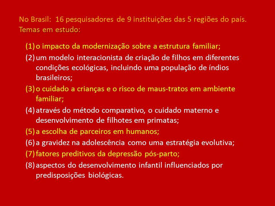 (1)o impacto da modernização sobre a estrutura familiar; (2)um modelo interacionista de criação de filhos em diferentes condições ecológicas, incluindo uma população de índios brasileiros; (3)o cuidado a crianças e o risco de maus-tratos em ambiente familiar; (4)através do método comparativo, o cuidado materno e desenvolvimento de filhotes em primatas; (5)a escolha de parceiros em humanos; (6)a gravidez na adolescência como uma estratégia evolutiva; (7)fatores preditivos da depressão pós-parto; (8)aspectos do desenvolvimento infantil influenciados por predisposições biológicas.