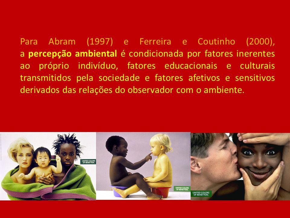 Para Abram (1997) e Ferreira e Coutinho (2000), a percepção ambiental é condicionada por fatores inerentes ao próprio indivíduo, fatores educacionais e culturais transmitidos pela sociedade e fatores afetivos e sensitivos derivados das relações do observador com o ambiente.