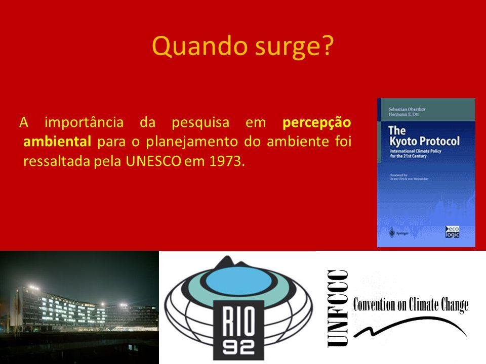 Quando surge? A importância da pesquisa em percepção ambiental para o planejamento do ambiente foi ressaltada pela UNESCO em 1973.