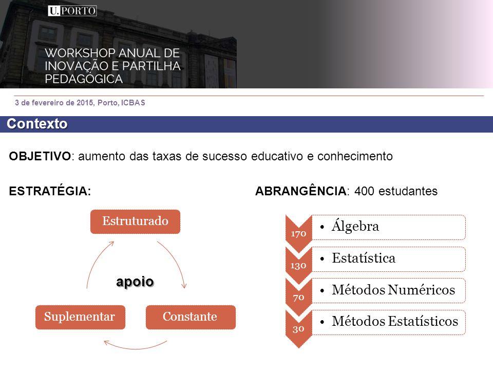 OBJETIVO: aumento das taxas de sucesso educativo e conhecimento ESTRATÉGIA:ABRANGÊNCIA: 400 estudantes 3 de fevereiro de 2015, Porto, ICBAS Estruturad