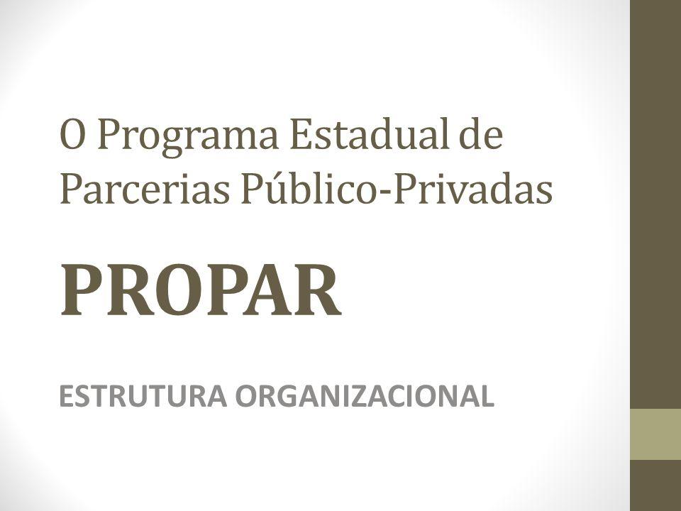 O Programa Estadual de Parcerias Público-Privadas PROPAR ESTRUTURA ORGANIZACIONAL