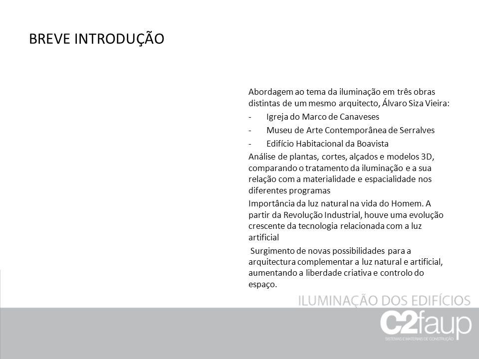 BREVE INTRODUÇÃO Abordagem ao tema da iluminação em três obras distintas de um mesmo arquitecto, Álvaro Siza Vieira: -Igreja do Marco de Canaveses -Mu