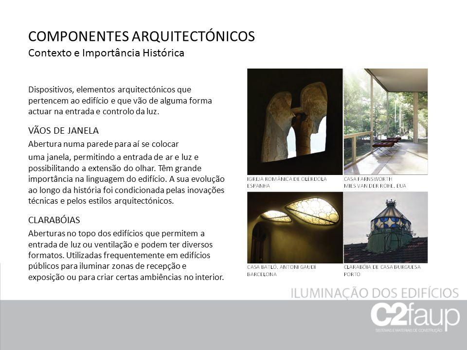 COMPONENTES ARQUITECTÓNICOS Contexto e Importância Histórica Dispositivos, elementos arquitectónicos que pertencem ao edifício e que vão de alguma for