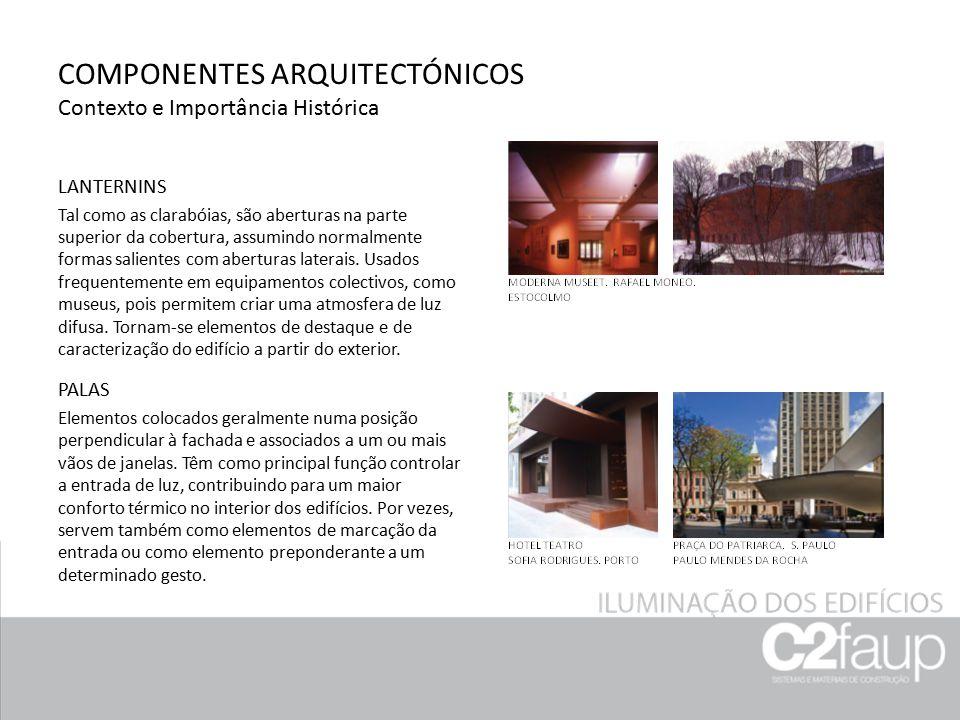 COMPONENTES ARQUITECTÓNICOS Contexto e Importância Histórica LANTERNINS Tal como as clarabóias, são aberturas na parte superior da cobertura, assumind