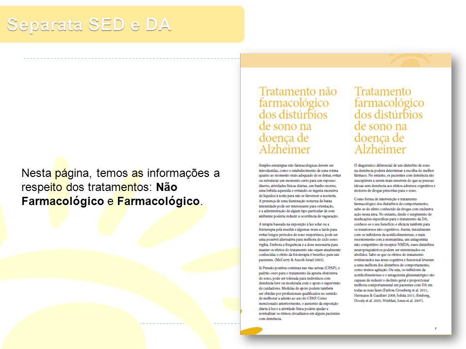 Nesta página, temos as informações a respeito dos tratamentos: Não Farmacológico e Farmacológico.