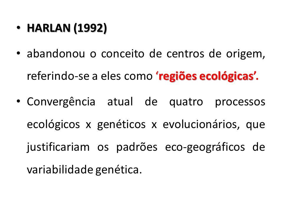 HARLAN (1992) HARLAN (1992) 'regiões ecológicas abandonou o conceito de centros de origem, referindo-se a eles como 'regiões ecológicas'. Convergência