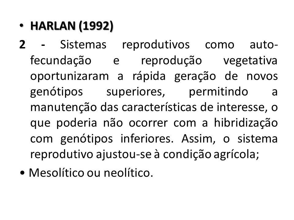 HARLAN (1992) HARLAN (1992) 2 - Sistemas reprodutivos como auto- fecundação e reprodução vegetativa oportunizaram a rápida geração de novos genótipos