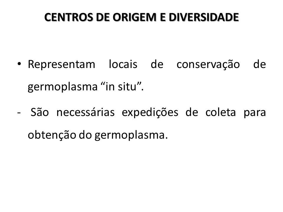 """CENTROS DE ORIGEM E DIVERSIDADE Representam locais de conservação de germoplasma """"in situ"""". - São necessárias expedições de coleta para obtenção do ge"""