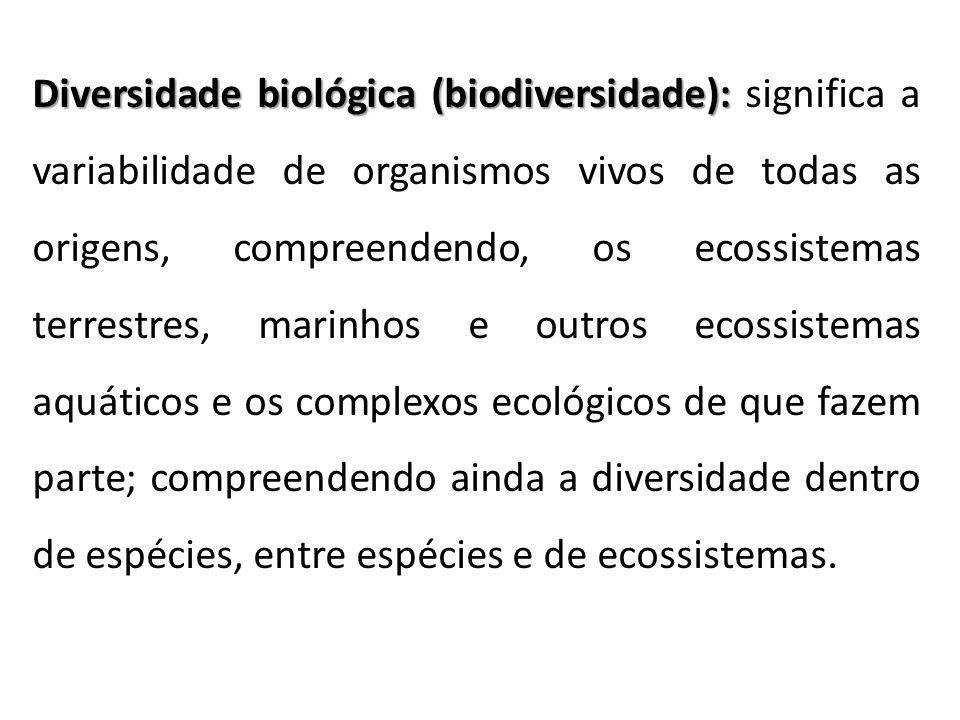 Diversidade biológica (biodiversidade): Diversidade biológica (biodiversidade): significa a variabilidade de organismos vivos de todas as origens, com