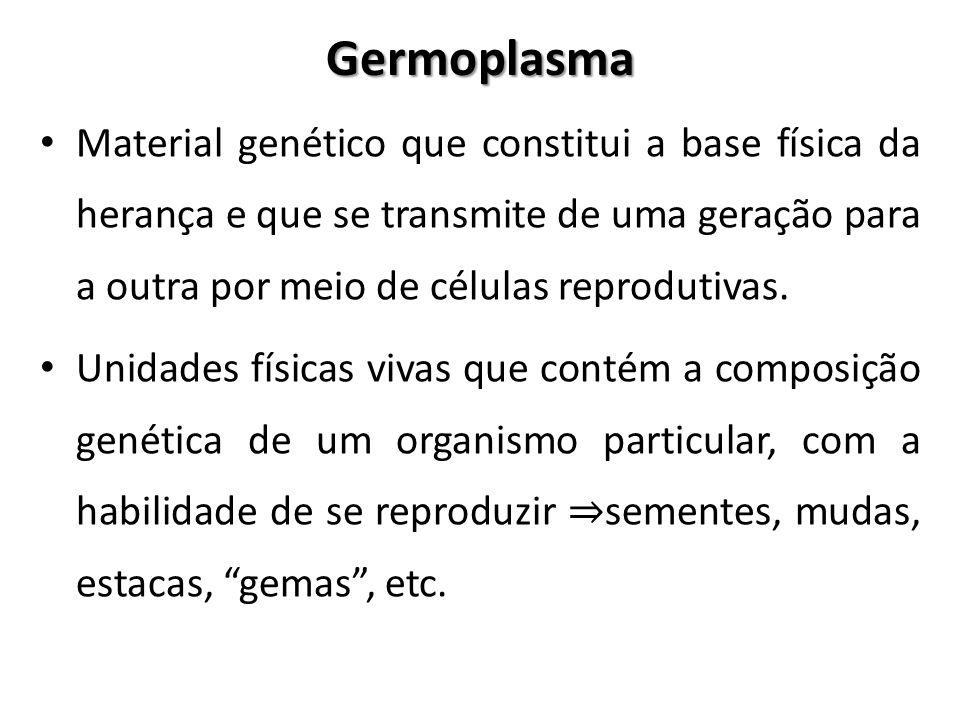 Germoplasma Material genético que constitui a base física da herança e que se transmite de uma geração para a outra por meio de células reprodutivas.