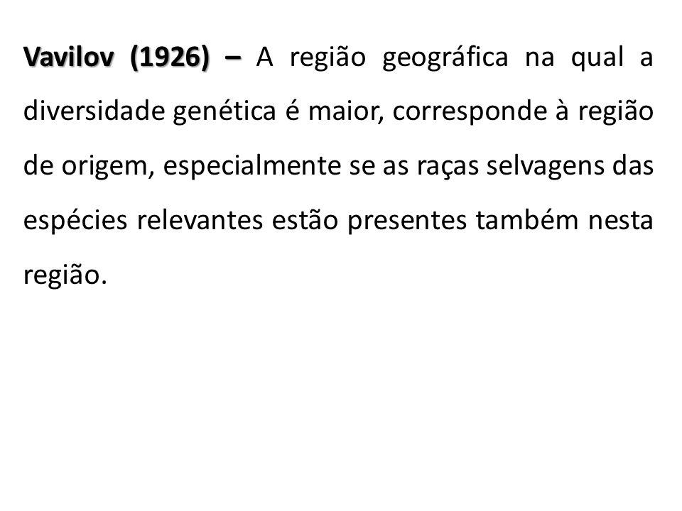 Vavilov (1926) – Vavilov (1926) – A região geográfica na qual a diversidade genética é maior, corresponde à região de origem, especialmente se as raça
