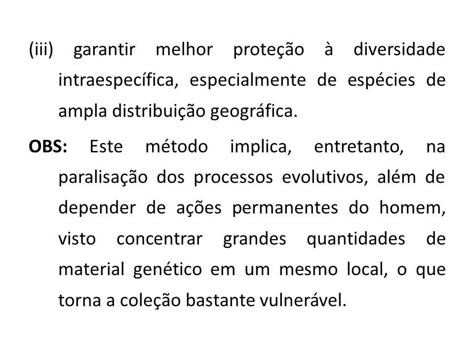 (iii) garantir melhor proteção à diversidade intraespecífica, especialmente de espécies de ampla distribuição geográfica. OBS: Este método implica, en