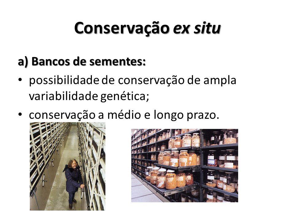 a) Bancos de sementes: possibilidade de conservação de ampla variabilidade genética; conservação a médio e longo prazo.