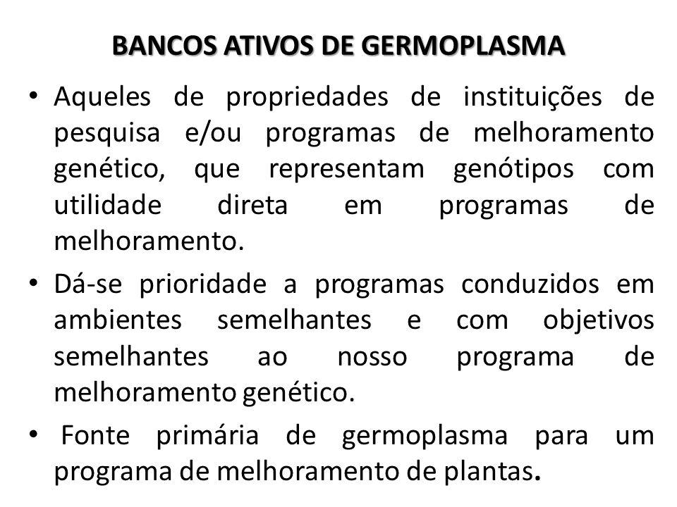BANCOS ATIVOS DE GERMOPLASMA Aqueles de propriedades de instituições de pesquisa e/ou programas de melhoramento genético, que representam genótipos co