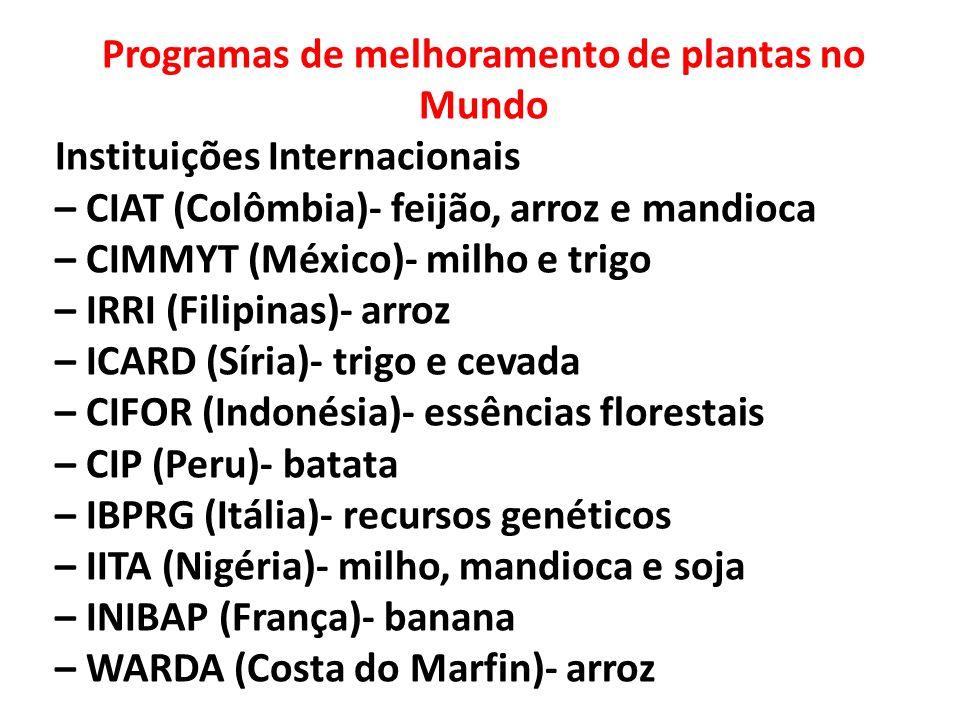 Programas de melhoramento de plantas no Mundo Instituições Internacionais – CIAT (Colômbia)- feijão, arroz e mandioca – CIMMYT (México)- milho e trigo