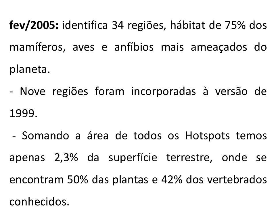 fev/2005: identifica 34 regiões, hábitat de 75% dos mamíferos, aves e anfíbios mais ameaçados do planeta. - Nove regiões foram incorporadas à versão d