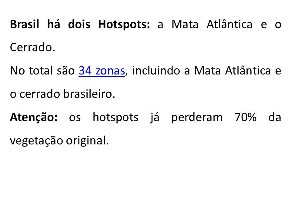 Brasil há dois Hotspots: a Mata Atlântica e o Cerrado. No total são 34 zonas, incluindo a Mata Atlântica e o cerrado brasileiro.34 zonas Atenção: os h