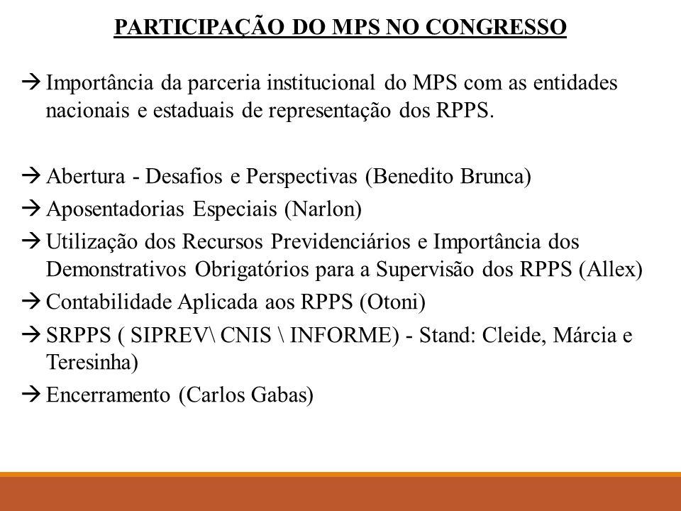 PARTICIPAÇÃO DO MPS NO CONGRESSO  Importância da parceria institucional do MPS com as entidades nacionais e estaduais de representação dos RPPS.