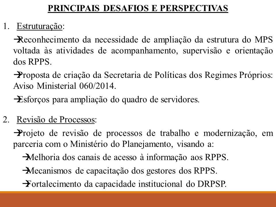 PRINCIPAIS DESAFIOS E PERSPECTIVAS 1.Estruturação:  Reconhecimento da necessidade de ampliação da estrutura do MPS voltada às atividades de acompanhamento, supervisão e orientação dos RPPS.