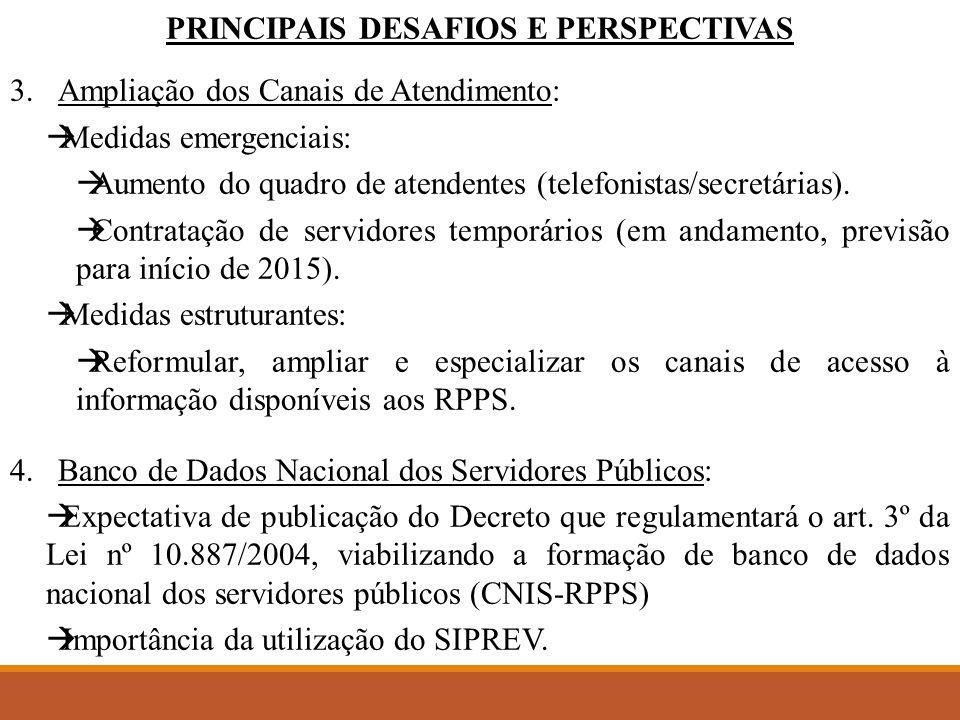 PRINCIPAIS DESAFIOS E PERSPECTIVAS 3.Ampliação dos Canais de Atendimento:  Medidas emergenciais:  Aumento do quadro de atendentes (telefonistas/secretárias).