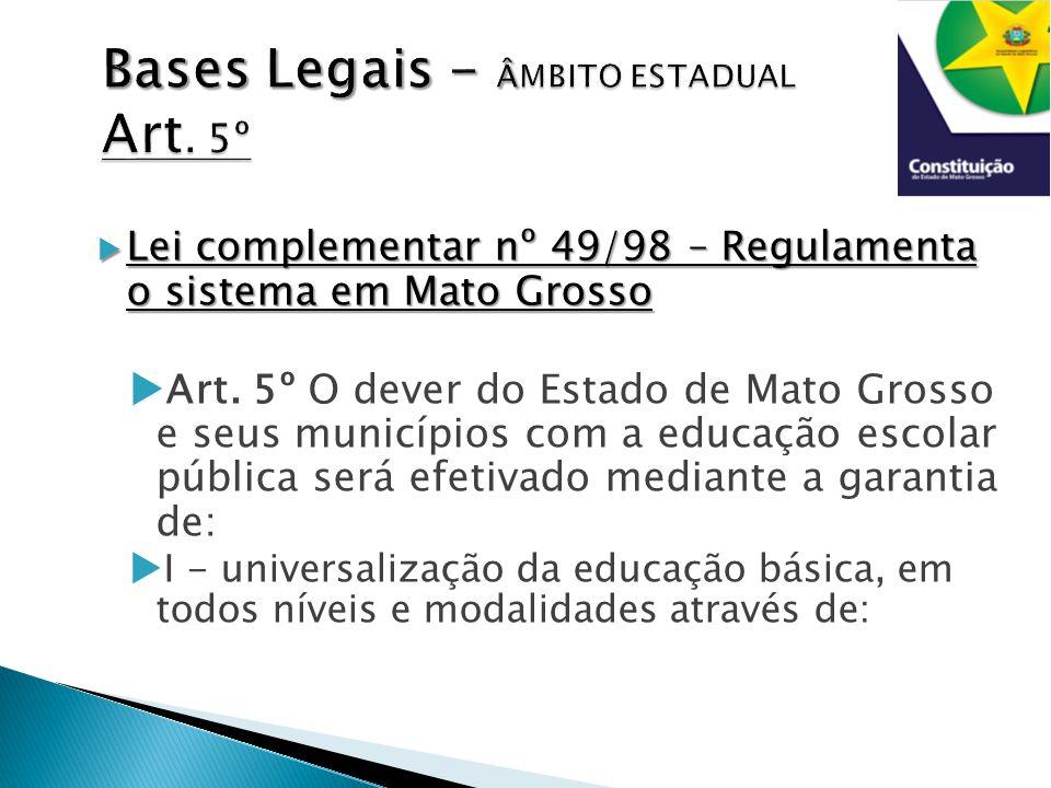  Lei complementar nº 49/98 – Regulamenta o sistema em Mato Grosso  Art.