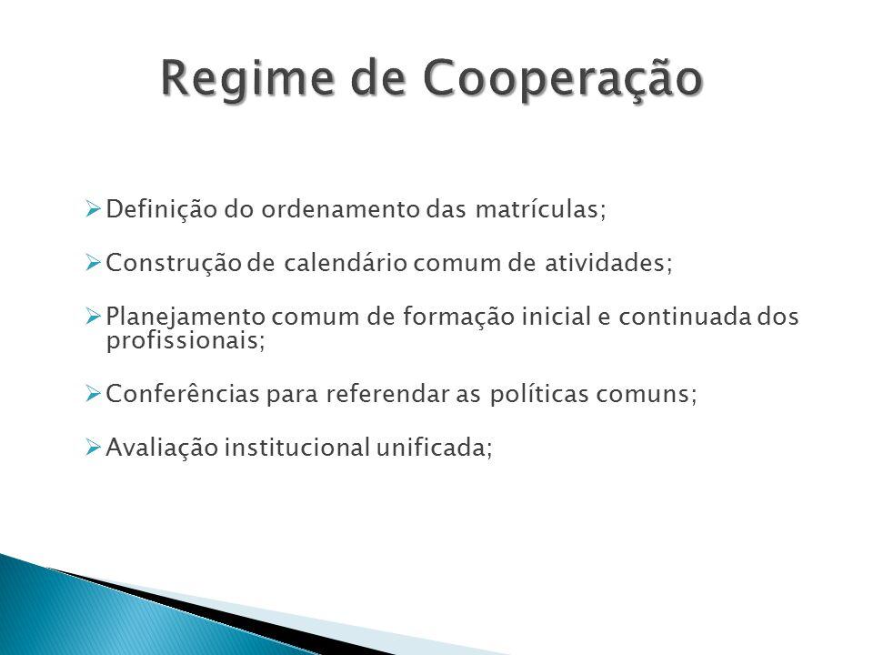  Definição do ordenamento das matrículas;  Construção de calendário comum de atividades;  Planejamento comum de formação inicial e continuada dos profissionais;  Conferências para referendar as políticas comuns;  Avaliação institucional unificada;