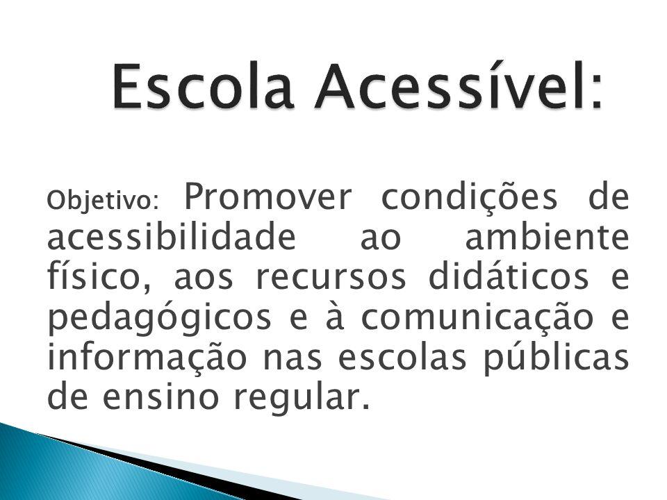Objetivo: Promover condições de acessibilidade ao ambiente físico, aos recursos didáticos e pedagógicos e à comunicação e informação nas escolas públicas de ensino regular.