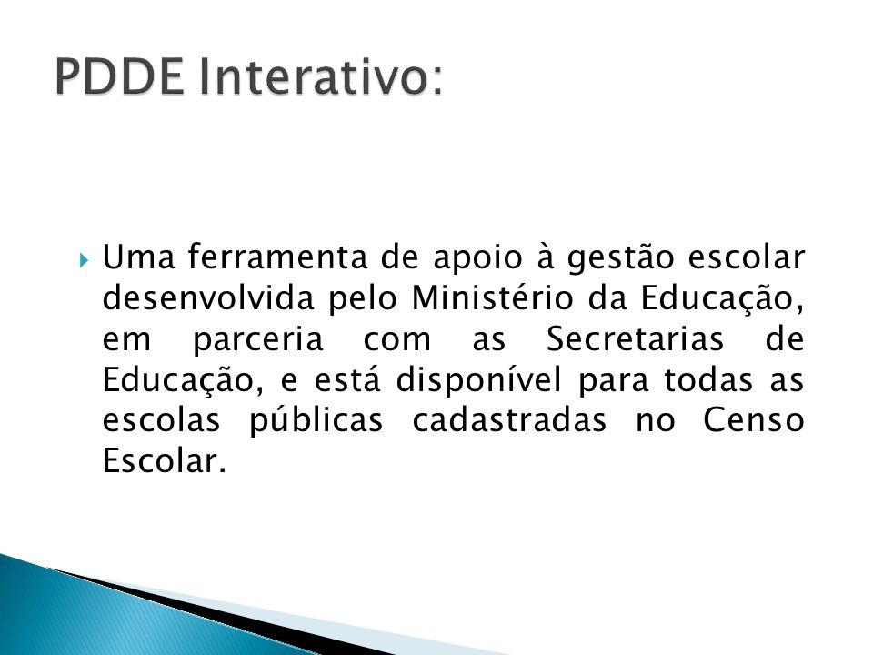  Uma ferramenta de apoio à gestão escolar desenvolvida pelo Ministério da Educação, em parceria com as Secretarias de Educação, e está disponível para todas as escolas públicas cadastradas no Censo Escolar.