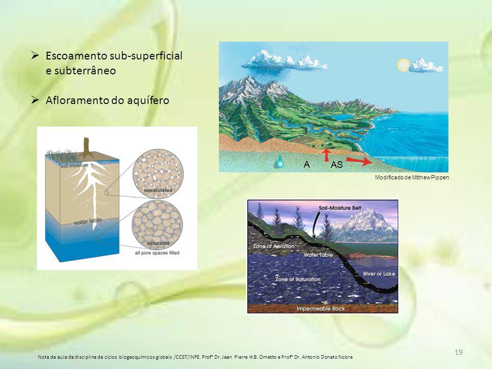 Modificado de Mtthew Pippen  Escoamento sub-superficial e subterrâneo  Afloramento do aquífero 19 Nota de aula da disciplina de ciclos biogeoquímico