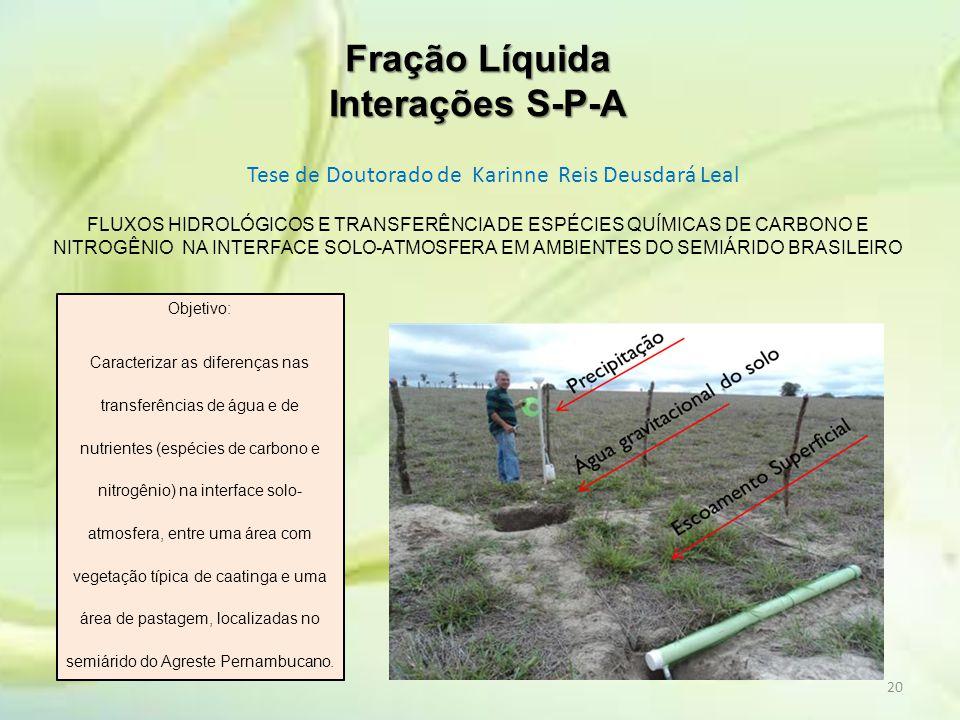 Fração Líquida Interações S-P-A Tese de Doutorado de Karinne Reis Deusdará Leal 20 FLUXOS HIDROLÓGICOS E TRANSFERÊNCIA DE ESPÉCIES QUÍMICAS DE CARBONO