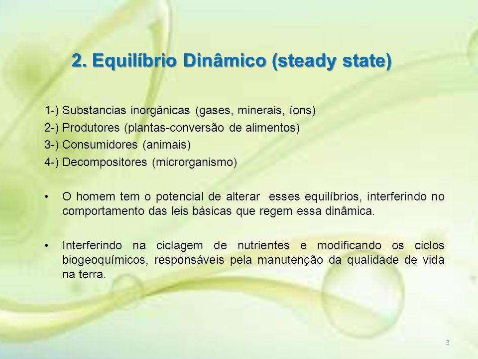 2. Equilíbrio Dinâmico (steady state) 1-) Substancias inorgânicas (gases, minerais, íons) 2-) Produtores (plantas-conversão de alimentos) 3-) Consumid