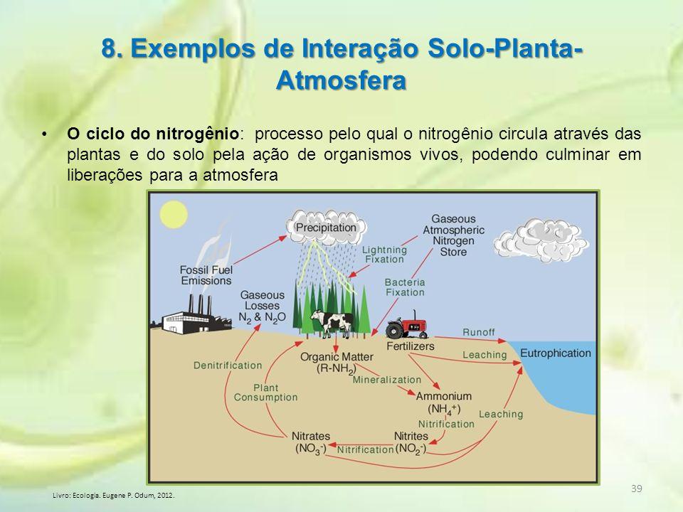 O ciclo do nitrogênio: processo pelo qual o nitrogênio circula através das plantas e do solo pela ação de organismos vivos, podendo culminar em libera