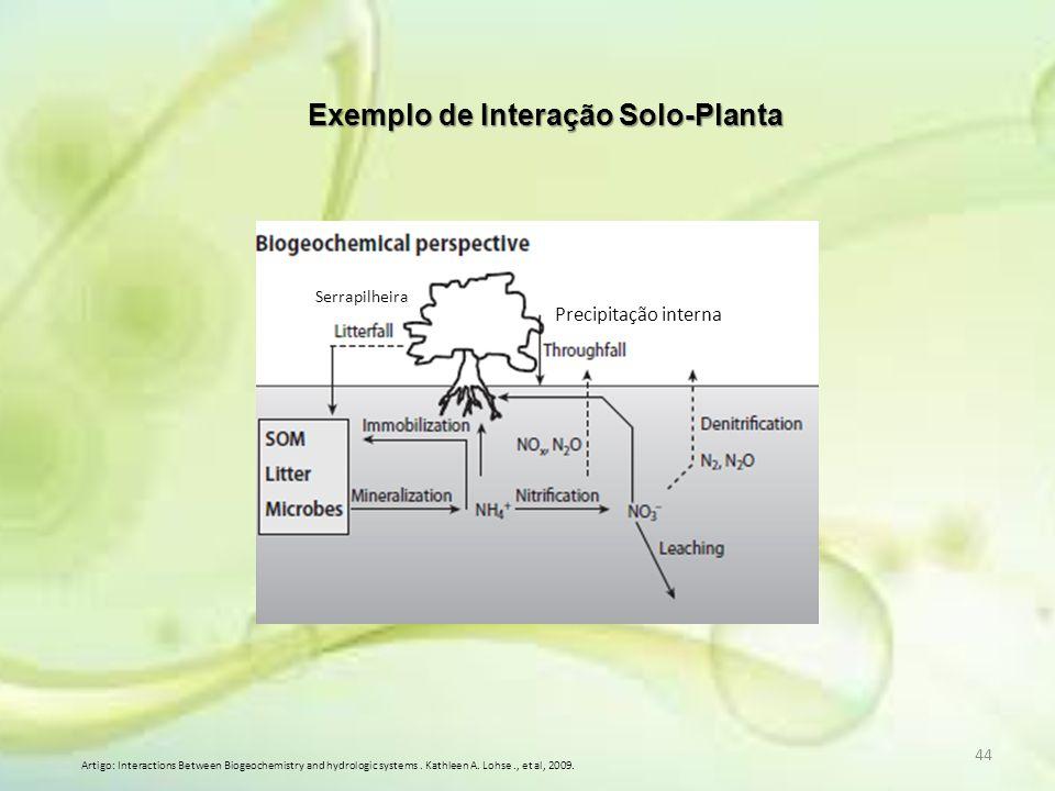 44 Exemplo de Interação Solo-Planta Artigo: Interactions Between Biogeochemistry and hydrologic systems. Kathleen A. Lohse., et al, 2009. Precipitação