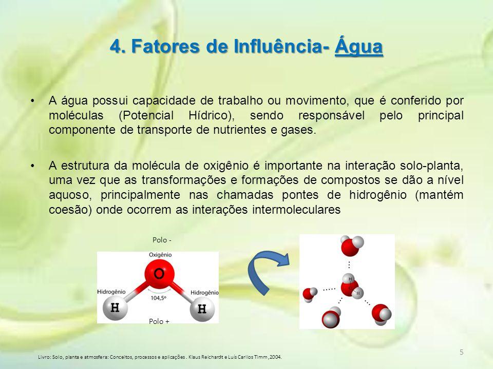 4. Fatores de Influência- Água A água possui capacidade de trabalho ou movimento, que é conferido por moléculas (Potencial Hídrico), sendo responsável