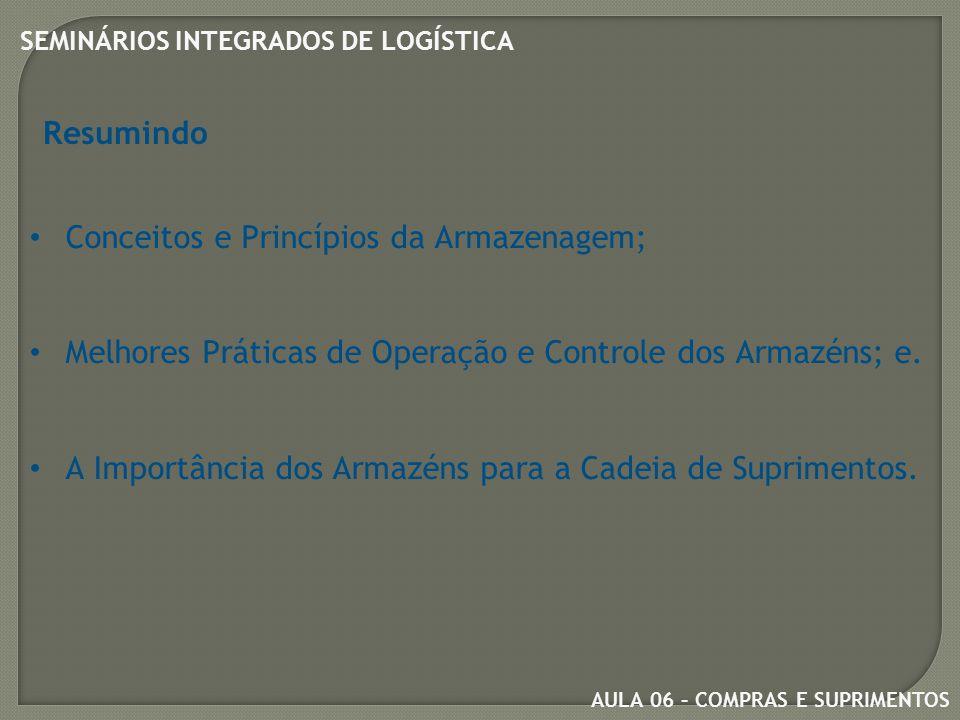 AULA 06 – COMPRAS E SUPRIMENTOS SEMINÁRIOS INTEGRADOS DE LOGÍSTICA Resumindo Conceitos e Princípios da Armazenagem; Melhores Práticas de Operação e Controle dos Armazéns; e.