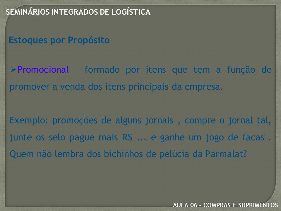 AULA 06 – COMPRAS E SUPRIMENTOS SEMINÁRIOS INTEGRADOS DE LOGÍSTICA Estoques por Propósito  Promocional – formado por itens que tem a função de promover a venda dos itens principais da empresa.