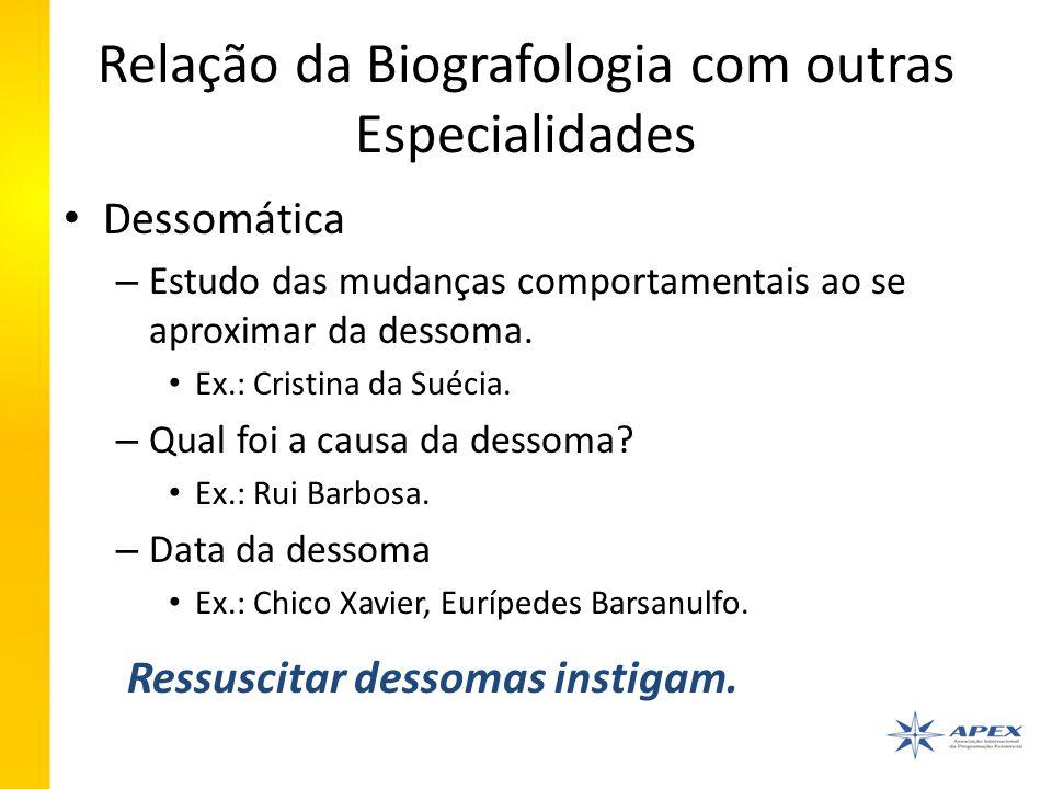 Relação da Biografologia com outras Especialidades Dessomática – Estudo das mudanças comportamentais ao se aproximar da dessoma.