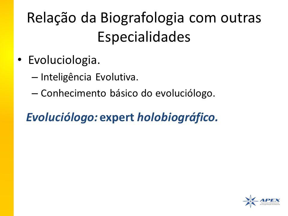 Relação da Biografologia com outras Especialidades Evoluciologia.