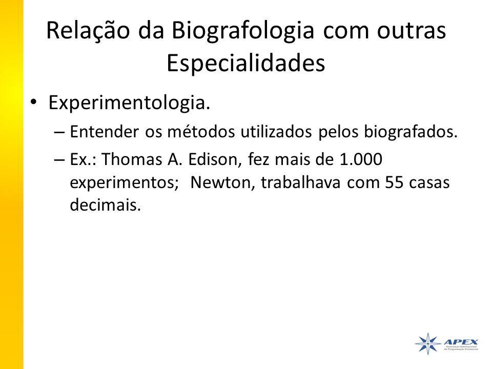 Relação da Biografologia com outras Especialidades Experimentologia.