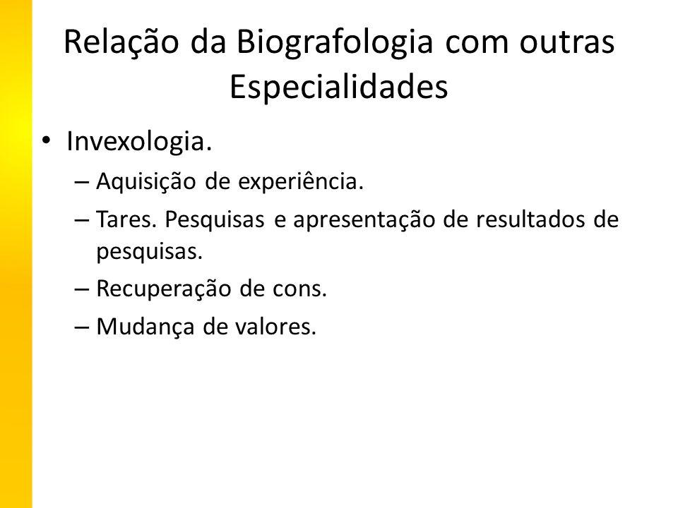 Relação da Biografologia com outras Especialidades Invexologia.