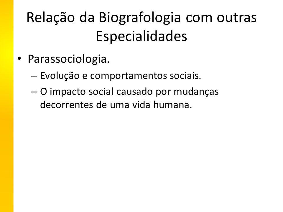 Relação da Biografologia com outras Especialidades Parassociologia.