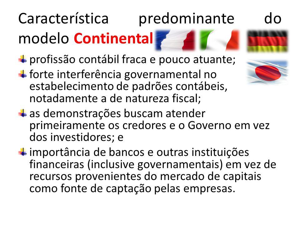 Característica predominante do modelo Continental profissão contábil fraca e pouco atuante; forte interferência governamental no estabelecimento de pa