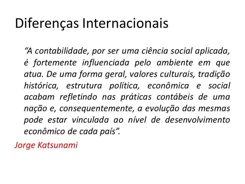 """Diferenças Internacionais """"A contabilidade, por ser uma ciência social aplicada, é fortemente influenciada pelo ambiente em que atua. De uma forma ger"""