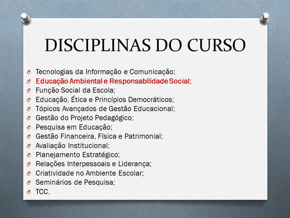 DISCIPLINAS DO CURSO O Tecnologias da Informação e Comunicação; O Educação Ambiental e Responsabilidade Social; O Função Social da Escola; O Educação,