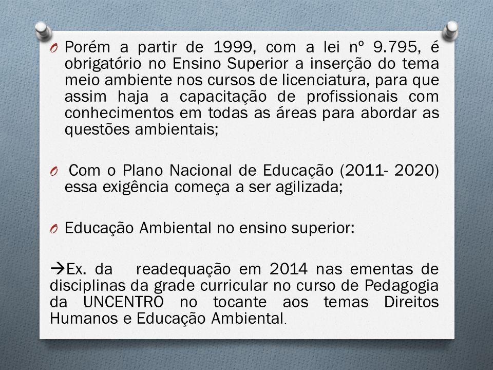 O Porém a partir de 1999, com a lei nº 9.795, é obrigatório no Ensino Superior a inserção do tema meio ambiente nos cursos de licenciatura, para que a