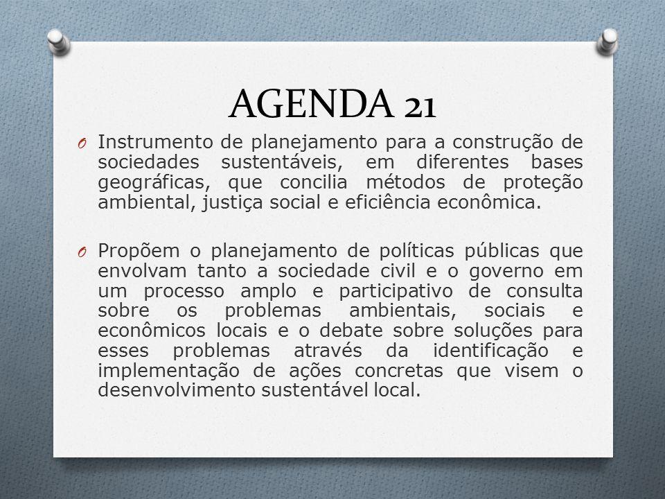 AGENDA 21 O Instrumento de planejamento para a construção de sociedades sustentáveis, em diferentes bases geográficas, que concilia métodos de proteção ambiental, justiça social e eficiência econômica.