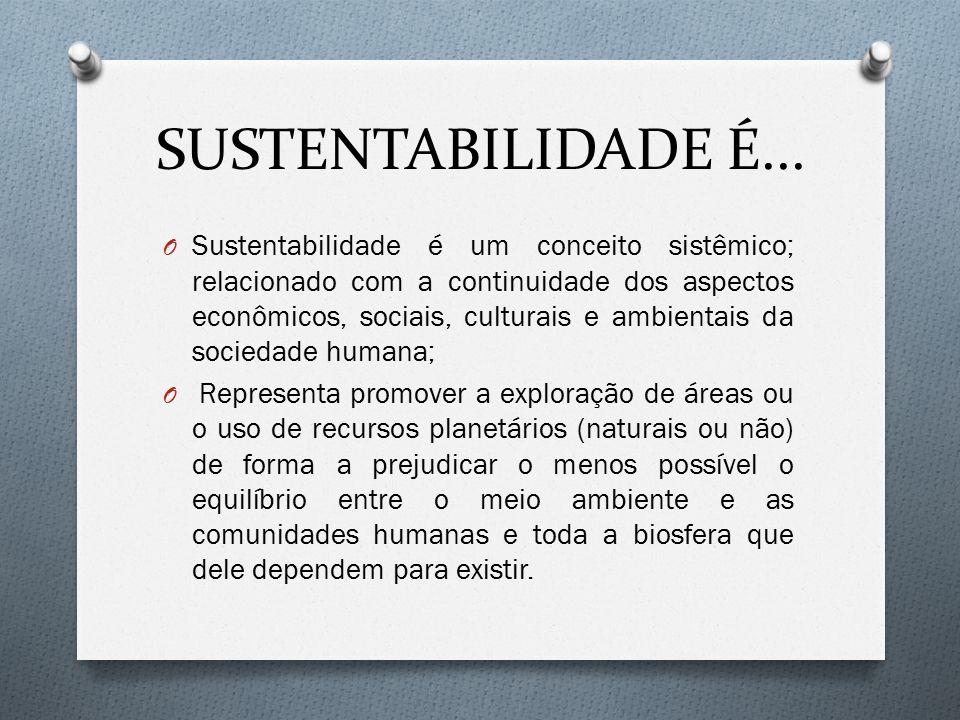 SUSTENTABILIDADE É... O Sustentabilidade é um conceito sistêmico; relacionado com a continuidade dos aspectos econômicos, sociais, culturais e ambient