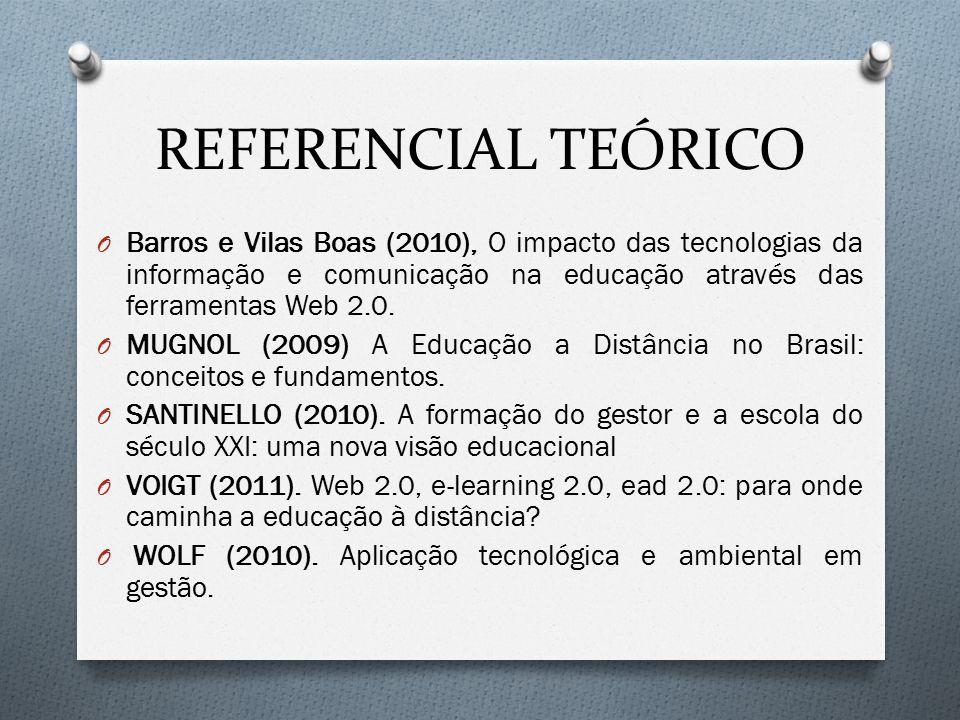 REFERENCIAL TEÓRICO O Barros e Vilas Boas (2010), O impacto das tecnologias da informação e comunicação na educação através das ferramentas Web 2.0. O