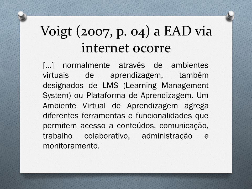 Voigt (2007, p. 04) a EAD via internet ocorre [...] normalmente através de ambientes virtuais de aprendizagem, também designados de LMS (Learning Mana